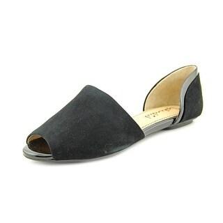Splendid Akron Women Peep-Toe Suede Black Flats