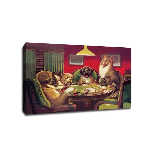Dogs Playing Poker 2 (36x24 Canvas) Vintage Ads Canvas 36x24