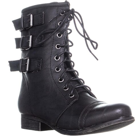 madden girl Ginghamm Triple Bucklet Combat Boots, Black - 7 US