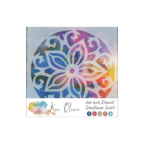 Tukn0186 contact crafts koliver stencil 6x6 starflwer swirl