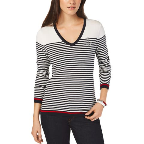 Tommy Hilfiger Womens Cotton Striped Anchor Top V-Neck Sweater X-Large XL