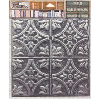 "7 Gypsies Architextures Adhesive Tin Tiles 5.75""X5.75""-Tarnished Silver"