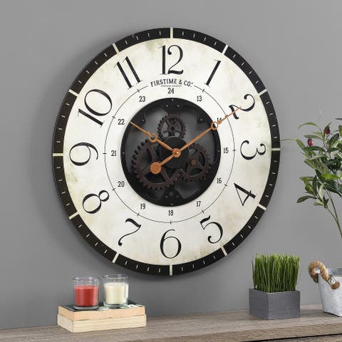 FirsTime & Co. Carlisle Gears Wall Clock, Wood, 27 x 2 x 27 in, American Designed