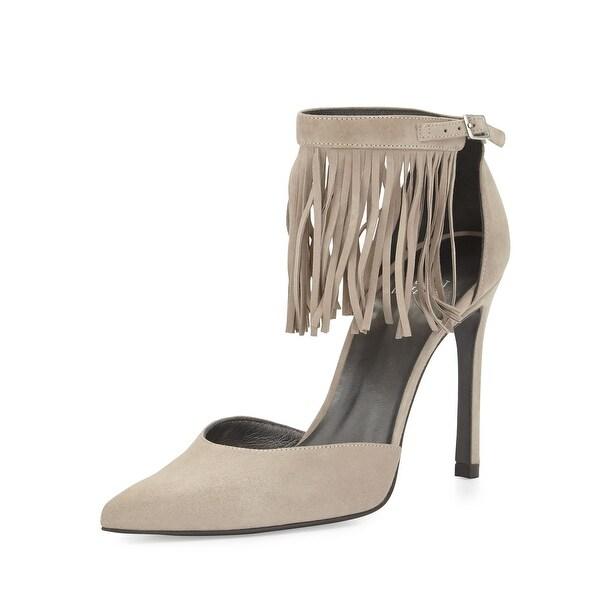 Stuart Weitzman NEW Beige Womens Shoes Size 10.5M Fringelica Pump