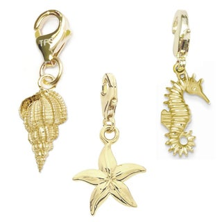 Julieta Jewelry Starfish, Conch Shell, Seahorse 14k Gold Over Sterling Silver Clip-On Charm Set