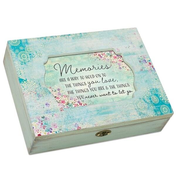 "8.5"" Photo Insert ""Memories"" Weathered Decoupage Jewelry Music Box - N/A"