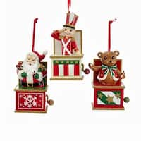 Pack of 6 Red, White and Green Santa, Bear and Soldier Jack in the Box Christmas Ornaments 4""