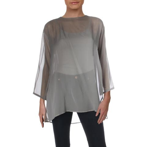 Eileen Fisher Womens Tunic Top Silk Ombre - Pearl
