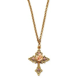 Goldtone Pink Porcelain Rose/Pink Crystal Cross Necklace - 18in