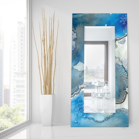 """Subtle Blue""Abstract Rectangular Beveled Wall Mirror on Free Floating Tempered Glass - Clear - 72 x 36"