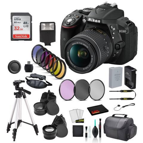 Nikon D5300 DSLR Camera w/ AF-P 18-55mm Lens Bundle ? 32GB SD Card