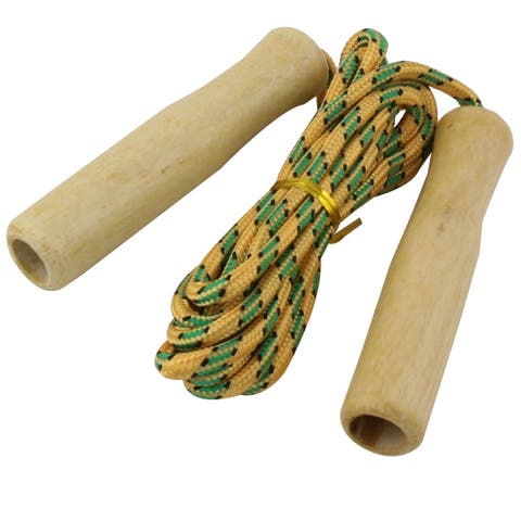 Sports Wooden Handle Nylon Skipping Jumping Rope Orange Green 2.33M 2pcs