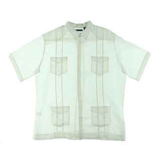 Cubavera Mens Big & Tall Ramie Embroidered Button-Down Shirt