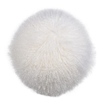 A&B Home Gila Lamb White Fur Throw Pillow