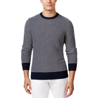 Tommy Hilfiger Jackson Texture Stripe Crewneck Sweater Navy Blue and White Large - L