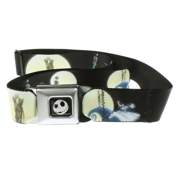 Nightmare Before Christmas Jack and Sally Moon Scenes Seatbelt Belt-Holds Pants Up