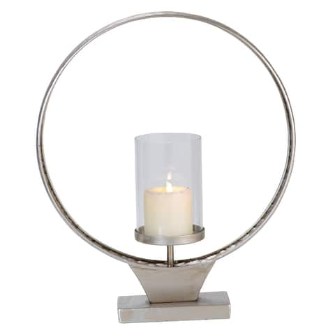 Foreside Home & Garden Large Hammered Metal Round Ring Pillar Candle Holder - 4.25x15.5x7.75