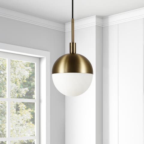 Orb Globe Brass and Frosted glass Pendant