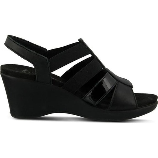 44bffd6ff51e1a Flexus by Spring Step Women  x27 s Monnie Slingback Wedge Sandal Black  Leather