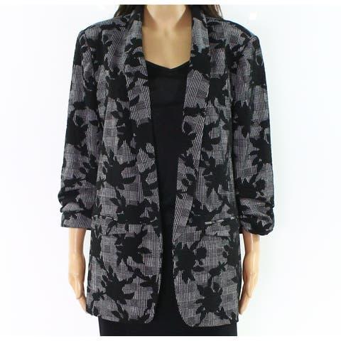 Democracy Women's Gray Size Medium M Textured Knit Open Blazer Jacket