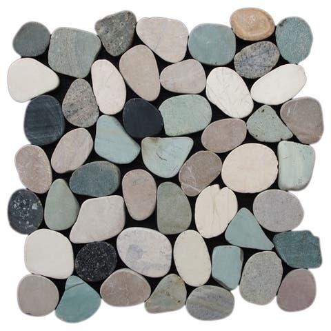 """Miseno MT-S3 Sliced Pebble - 11-1/2"""" x 11-1/2"""" Pebble Floor and Wall Mosaic Tile - Honed Pebble Visual -"""