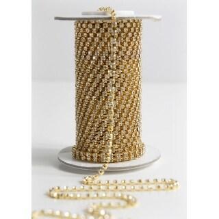 "Grand Crystal Diamond Craft Ribbon Trim with Gold Setting 5/32"" x 11 Yards"