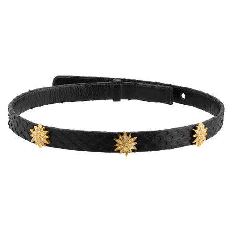 Cristina Sabatini Radiant Choker with Cubic Zirconia & Genuine Black Python Leather in 18K Gold Over Silver