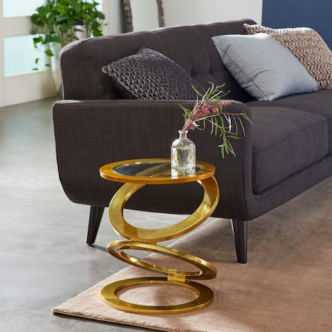 """Eclectic Gold-Plated Aluminum Cast Aluminum Ring Accent Table, 16"""" x 19"""" - 16 x 16 x 19"""