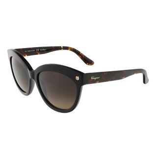 7e12b31f9869 Shop Salvatore Ferragamo SF675S 001 Black Cat Eye sunglasses - Free  Shipping Today - Overstock - 13401807