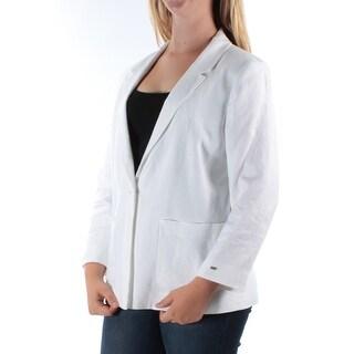 TOMMY HILFIGER $149 Womens New 1117 White Blazer Wear To Work Jacket 12 B+B