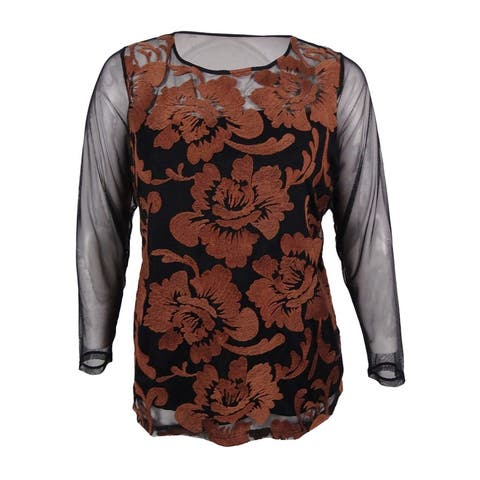 2c3bd5ac635 INC International Concepts Women's Plus Size Embroidered Illusion Top -  Deep Black