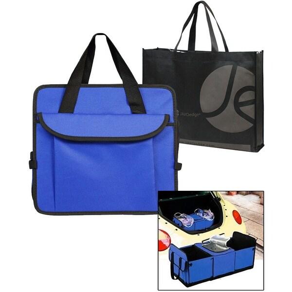 JAVOedge Blue Folding Trunk Organizer, Multi Pocket Cargo Carrier with Cooler Storage Section + Bonus Tote Bag