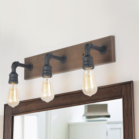 """Carbon Loft 3-light Water Pipe Wall Sconce Industrial Vanity Lighting - W22.2""""*H6.7""""*E6.3"""""""