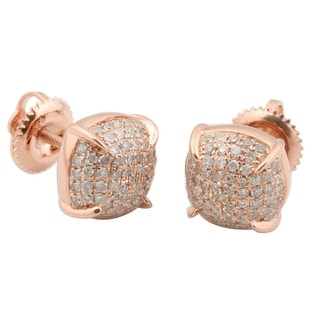 Fabulous 0.48 Carat Natural Diamond Designer Screw Back Puffed Dome Earring
