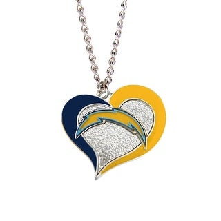 San Diego Chargers NFL Swirl Heart Necklace