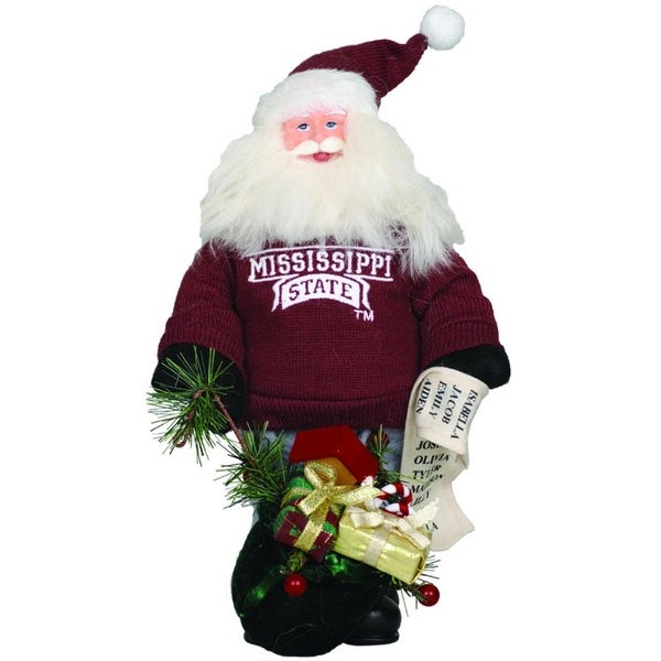 """10"""" NCAA Mississippi State Gift Bearing Santa Claus Christmas Table Top Figure - RED"""
