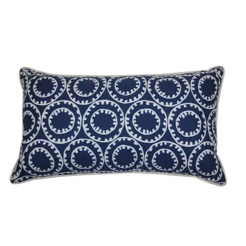Jiti Navy Geometric Transitional Sunbrella Outdoor Pillows - 12 x 20