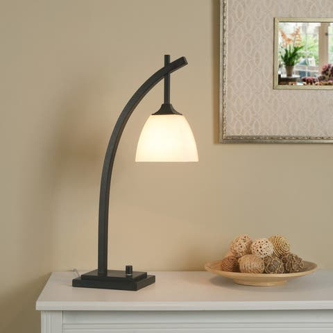 Porch & Den Alfred Glass and Metal Desk Lamp
