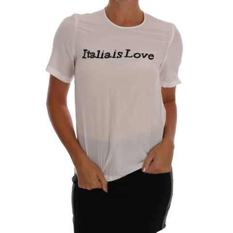 Dolce & Gabbana White Silk ITALIA IS LOVE Blouse Women's T-shirt - it36-xs