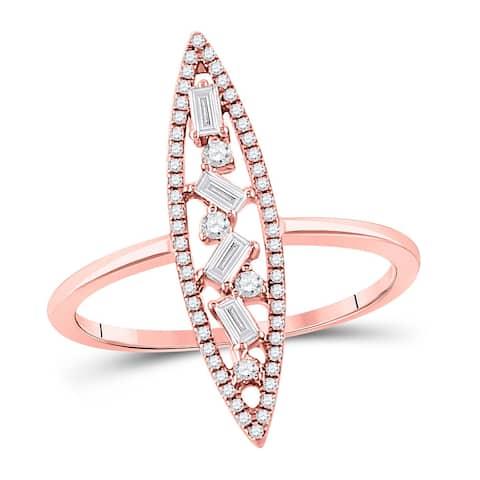 14k Rose Gold Womens Baguette Diamond Oblong Geometric Statement Fashion Ring 1/4 Cttw
