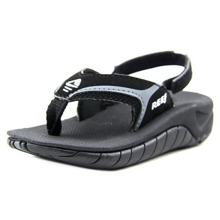 Reef Kid's Slap II Youth Open-Toe Leather Black Sport Sandal