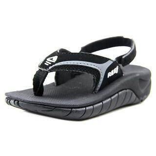 Reef Kid's Slap II Youth Open-Toe Leather Black Sport Sandal