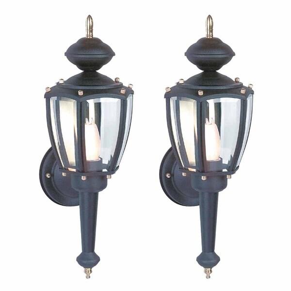 2 Outdoor Lighting Black Aluminum 5 Panel Outdoor Lamp