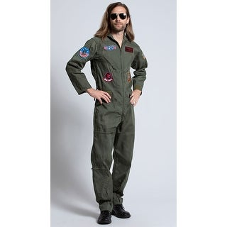 Mens Top Gun Costume, Top Gun Mens Flight Suit - Khaki