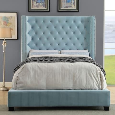 Furniture of America Arun Contemporary Fabric Low Profile Panel Bed