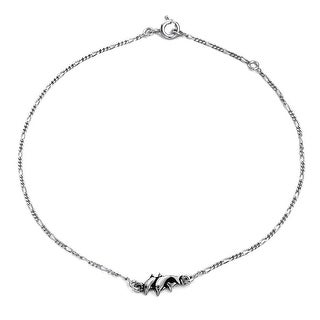 Bling Jewelry Sterling Silver Nautical Dolphin Anklet Figaro Chain 10in