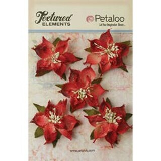 "Red - Textured Elements Burlap Poinsettias 2.5"" 5/Pkg"