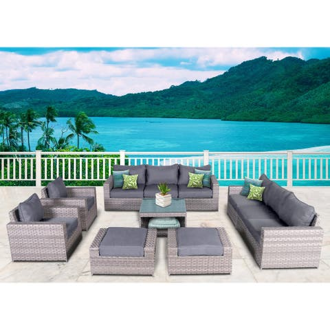 Kensington 11 Piece Rattan Sofa Seating Group with Cushions