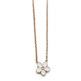Chisel Stainless Steel Polished Pink IP-plated/Enameled Flower with CZ Necklace - 17.25 in