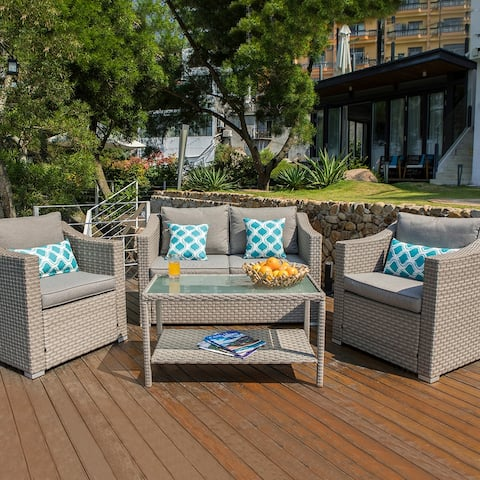 COSIEST Patio Furniture Set 4-piece Sectional Sofa With Cushions